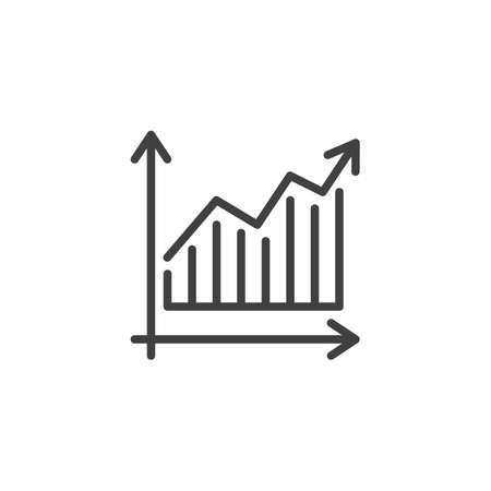 Growth graph line icon. Financial Diagram linear style sign for mobile concept and web design. Statistic graph chart outline vector icon. Business analytics symbol,  illustration. Vector graphics Archivio Fotografico - 133838823