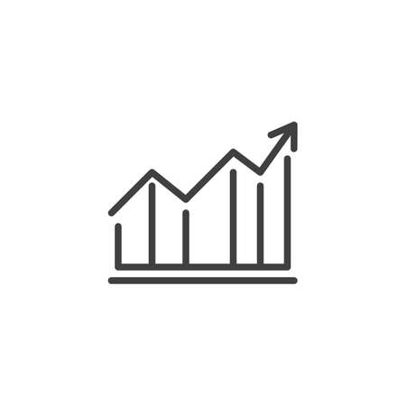 Growth graph line icon. Financial Diagram linear style sign for mobile concept and web design. Statistic graph chart outline vector icon. Business analytics symbol,  illustration. Vector graphics Archivio Fotografico - 133838825