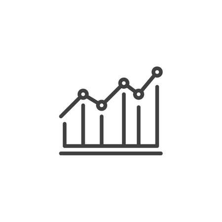 Graph, chart line icon. Statistics chart linear style sign for mobile concept and web design. Financial Diagram outline vector icon. Symbol,  illustration. Vector graphics Archivio Fotografico - 133838824