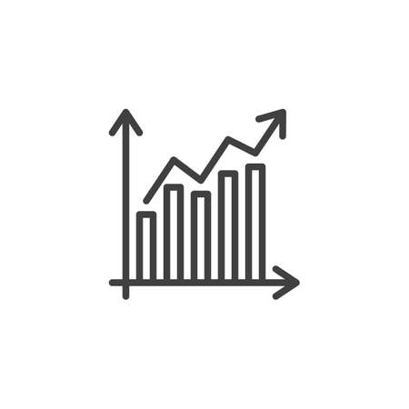 Graph, chart line icon. Statistics chart linear style sign for mobile concept and web design. Financial Diagram outline vector icon. Symbol,  illustration. Vector graphics Archivio Fotografico - 133838826