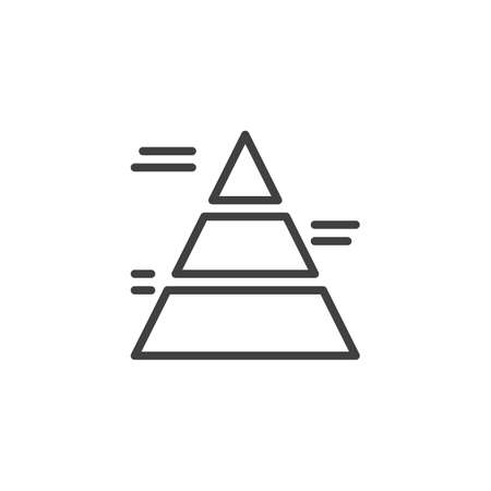 Financial pyramid line icon. linear style sign for mobile concept and web design. Pyramid chart bars outline vector icon. Business development symbol,  illustration. Vector graphics Archivio Fotografico - 133838427
