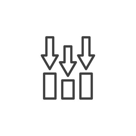Decline bar chart line icon. linear style sign for mobile concept and web design. Declining graph arrows outline vector icon. Business and finance symbol,  illustration. Vector graphics Archivio Fotografico - 133838429