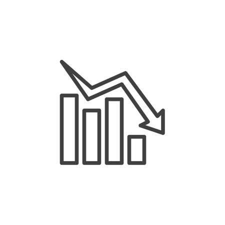 Declining graph line icon. Negative graph statistics linear style sign for mobile concept and web design. Business decline chart outline vector icon. Symbol,  illustration. Vector graphics Archivio Fotografico - 133838431
