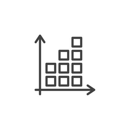 Graph statistics line icon. Growing graph linear style sign for mobile concept and web design. Finance diagram chart outline vector icon. Symbol,  illustration. Vector graphics Archivio Fotografico - 133838432