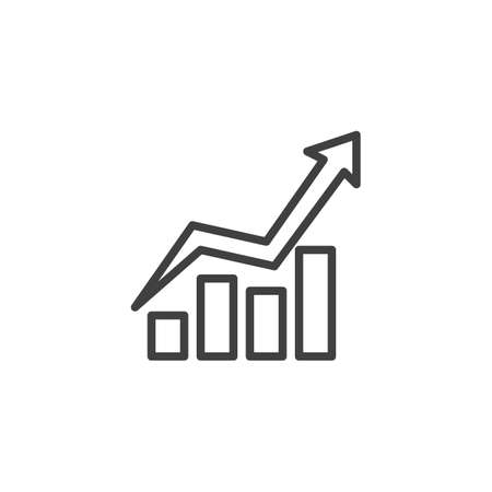 Growing bars chart line icon. Infographic linear style sign for mobile concept and web design. Graph statistics arrow outline vector icon. Symbol,  illustration. Finance diagram vector graphics Archivio Fotografico - 133838434