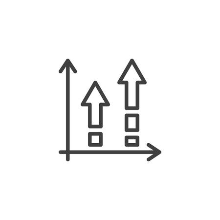 Growing bars arrows line icon. linear style sign for mobile concept and web design. Financial graph outline vector icon. Symbol,  illustration. Statistic diagram vector graphics Archivio Fotografico - 133838433