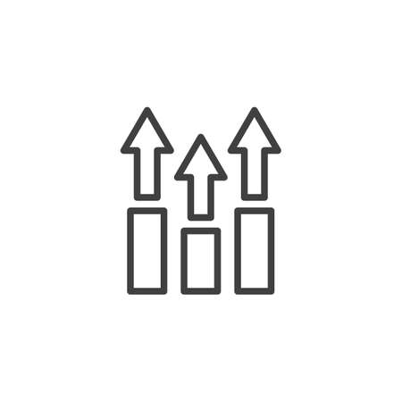 Growing bars arrows line icon. linear style sign for mobile concept and web design. Financial graph outline vector icon. Symbol,  illustration. Statistic diagram vector graphics Archivio Fotografico - 133838441