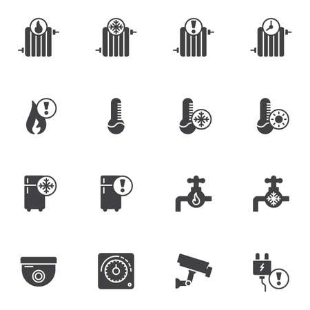 Home automation vector icons set, modern solid symbol collection, filled style pictogram pack. Signs,  illustration. Set includes icons as heater radiator temperature thermometer, security camera Reklamní fotografie - 133838435