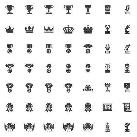 Awards trophy vector icons set, modern solid symbol collection filled style pictogram pack. Signs  illustration. Set includes icons as award cup, crown reward, star medal ribbon, first place medal Illusztráció