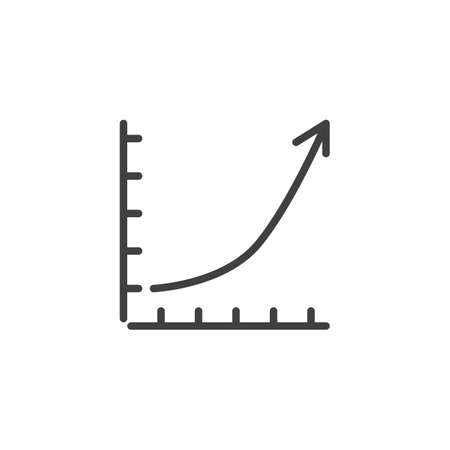 Growing graph line icon. linear style sign for mobile concept and web design. Financial graph outline vector icon. Statistic infographic symbol,  illustration. Analytics report vector graphics Archivio Fotografico - 133837847