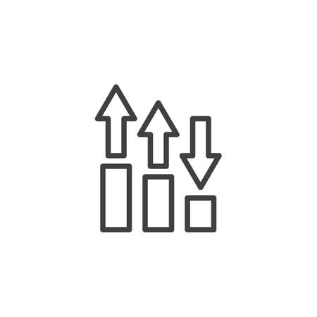 Growing bars arrows line icon. linear style sign for mobile concept and web design. Financial graph outline vector icon. Symbol,  illustration. Statistic diagram vector graphics Archivio Fotografico - 133837852