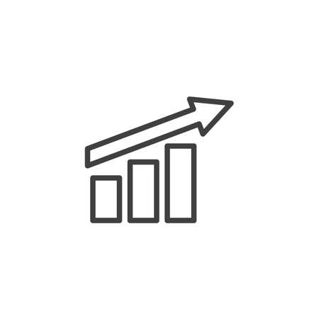 Growth graph up line icon. Financial chart arrow linear style sign for mobile concept and web design. Growing bars graph outline vector icon. Symbol,  illustration. Vector graphics Archivio Fotografico - 133837855