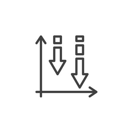 Declining graph line icon. Negative graph statistics linear style sign for mobile concept and web design. Business decline chart outline vector icon. Symbol,  illustration. Vector graphics Archivio Fotografico - 133837856