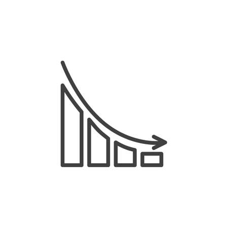 Business decline graph line icon. Decrease diagram linear style sign for mobile concept and web design. Falling graph arrow outline vector icon. Crisys symbol, illustration. Vector graphics