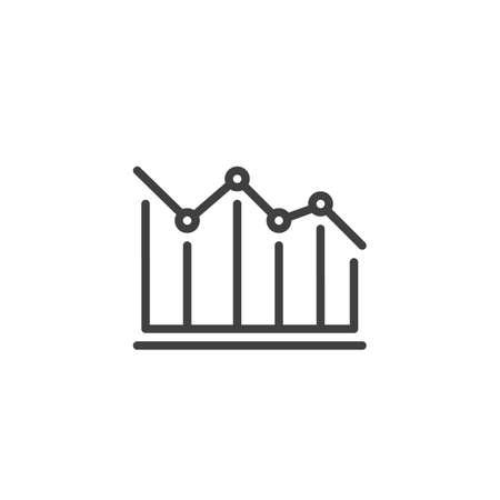 Decrease diagram line icon. Falling graph arrow linear style sign for mobile concept and web design. Decline graph statistic outline vector icon. Symbol,  illustration. Vector graphics Archivio Fotografico - 133837413
