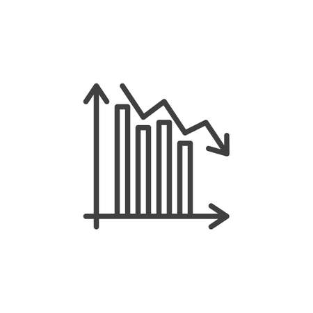 Decrease diagram line icon. Falling graph arrow linear style sign for mobile concept and web design. Decline graph statistic outline vector icon. Symbol,  illustration. Vector graphics Archivio Fotografico - 133837426