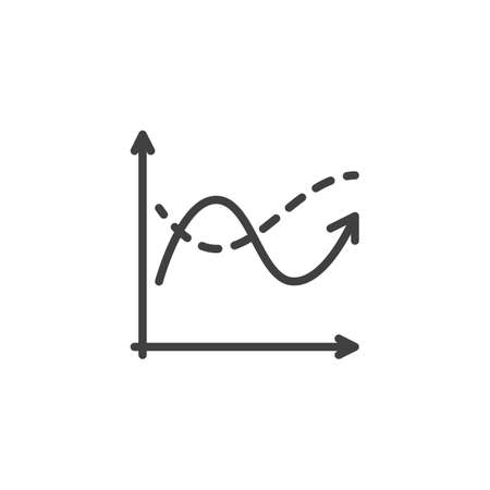 Diagram graph line icon. Analyzing chart linear style sign for mobile concept and web design. Statistics infographic outline vector icon. Symbol,  illustration. Vector graphics Archivio Fotografico - 133837438