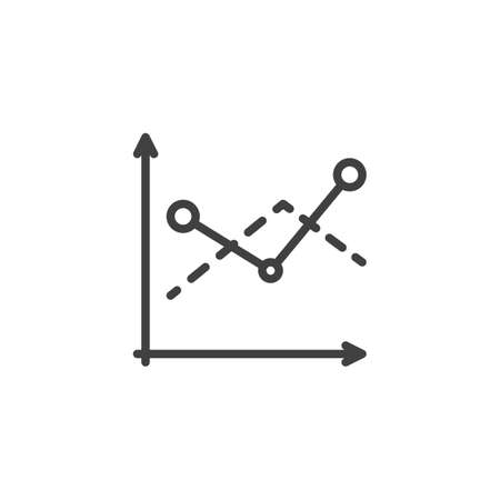 Diagram graph line icon. Analyzing chart linear style sign for mobile concept and web design. Statistics infographic outline vector icon. Symbol,  illustration. Vector graphics