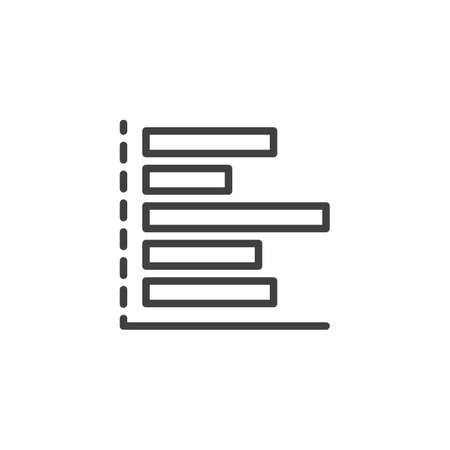 Horizontal Bars chart line icon. Infographics linear style sign for mobile concept and web design. Statistics column graph outline vector icon. Symbol,  illustration. Vector graphics Archivio Fotografico - 133837454