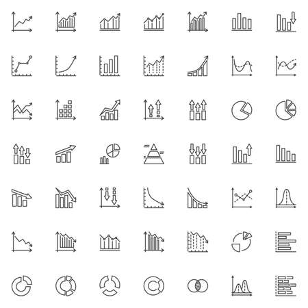 Graph and diagram line icons set. Infographics linear style symbols collection, outline signs pack. vector graphics. Set includes icons as business graph analytics, pie chart, chart bar statistic Archivio Fotografico - 133837455