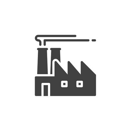 Industrial factory vector icon. filled flat sign for mobile concept and web design. Factory building glyph icon. Symbol,  illustration. Vector graphics Ilustração