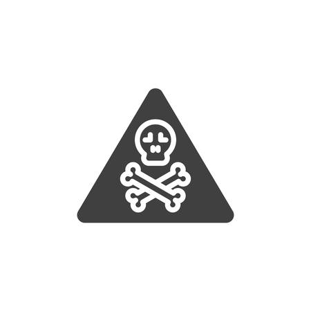 Danger sign vector icon. filled flat sign for mobile concept and web design. Skull and crossbones glyph icon. Symbol,  illustration. Vector graphics