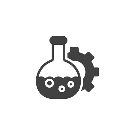 Oil industry lab vector icon. filled flat sign for mobile concept and web design. Laboratory glass and gear glyph icon. Symbol,  illustration. Vector graphics