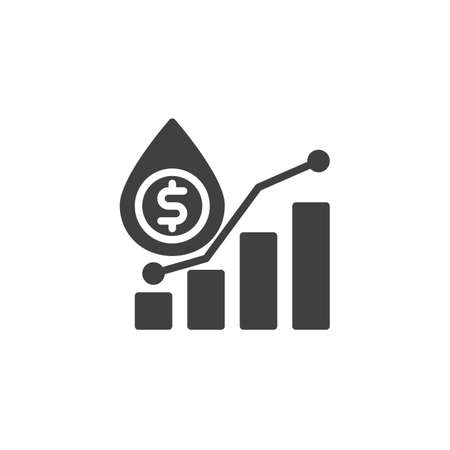 Oil industry profit vector icon. filled flat sign for mobile concept and web design. Oil price graph glyph icon. Symbol,  illustration. Vector graphics Ilustração