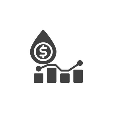 Oil price graph vector icon. filled flat sign for mobile concept and web design. Oil industry profit glyph icon. Symbol,  illustration. Vector graphics