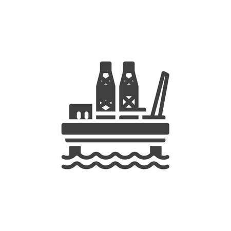 Oil platform vector icon. oil derrick filled flat sign for mobile concept and web design. Jack Up Rig glyph icon. Symbol,  illustration. Vector graphics Ilustração