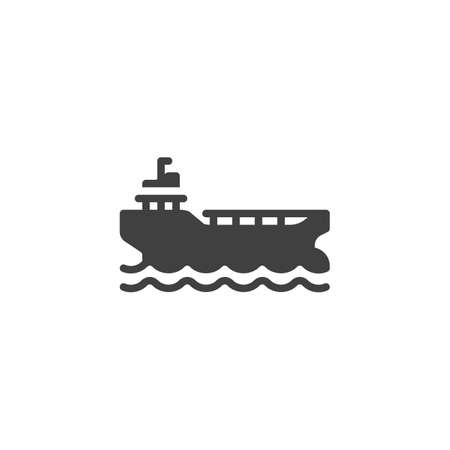 Cargo ship vector icon. filled flat sign for mobile concept and web design. Oil platform glyph icon. Symbol,  illustration. Vector graphics Ilustração