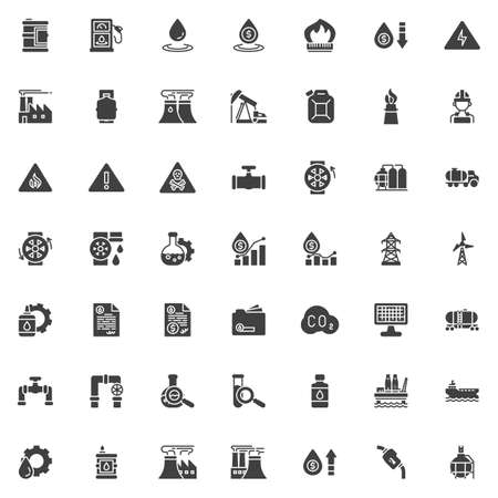 Oil industry vector icons set, modern solid symbol collection filled style pictogram pack. Signs  illustration. Set includes icons as Gas station, Industrial factory worker, derrick pump, oil tank
