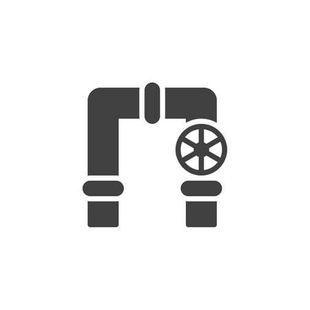 Flow control valve vector icon. filled flat sign for mobile concept and web design. Pipes with gas valve glyph icon. Symbol,  illustration. Vector graphics Ilustração