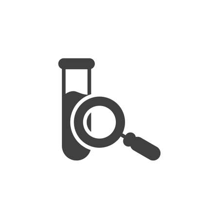 Test tube and magnifying glass vector icon. filled flat sign for mobile concept and web design. Chemical analysis glassware glyph icon. Symbol,  illustration. Vector graphics