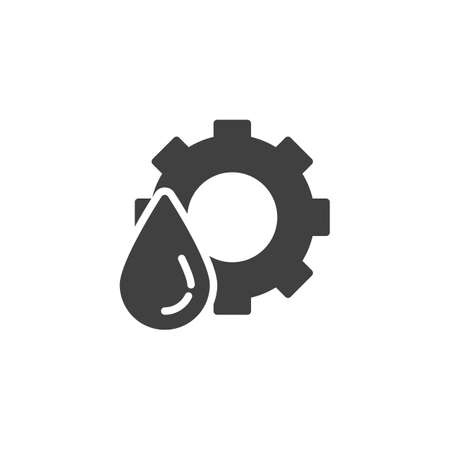 Oil drop and gear vector icon. filled flat sign for mobile concept and web design. Automobile liquid glyph icon. Symbol,  illustration. Vector graphics