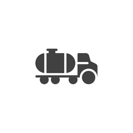 Petroleum tank truck vector icon. filled flat sign for mobile concept and web design. Oil tank truck glyph icon. Symbol,  illustration. Vector graphics Ilustração