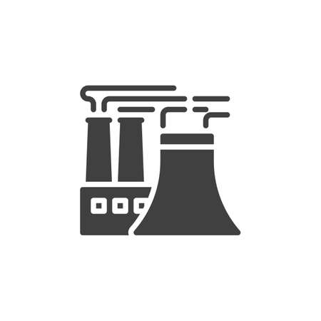 Power plant smoke vector icon. filled flat sign for mobile concept and web design. Refinery Factory pipes glyph icon. Symbol,  illustration. Vector graphics Ilustração