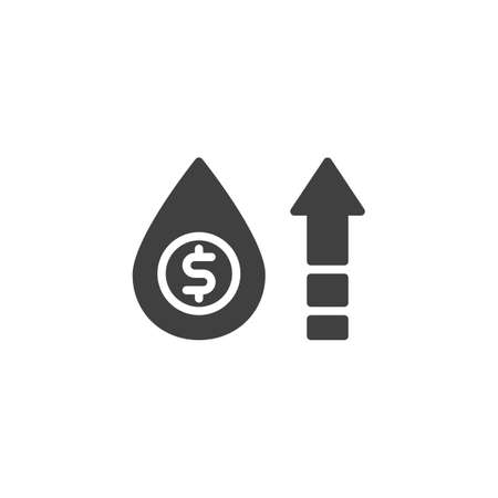 Oil price growth vector icon. filled flat sign for mobile concept and web design. Oil cost increase and dollar money glyph icon. Symbol,  illustration. Vector graphics