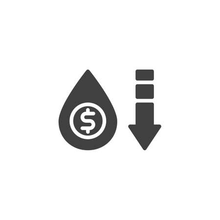 Crude Oil Price Prediction vector icon. filled flat sign for mobile concept and web design. Oil price decline glyph icon. Symbol,  illustration. Vector graphics