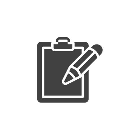 Pencil pen and paper clipboard vector icon. filled flat sign for mobile concept and web design. Note pad and pen glyph icon. Writing form symbol,  illustration. Vector graphics