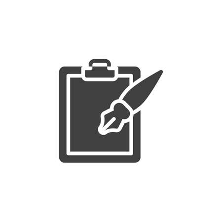 Ink pen and paper clipboard vector icon. filled flat sign for mobile concept and web design. Note pad and Ink pen glyph icon. Writing form symbol,  illustration. Vector graphics Ilustração