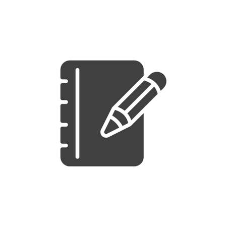 Pencil and notebook page vector icon. filled flat sign for mobile concept and web design. Notepad paper with pen glyph icon. Writing form symbol,  illustration. Vector graphics Ilustração