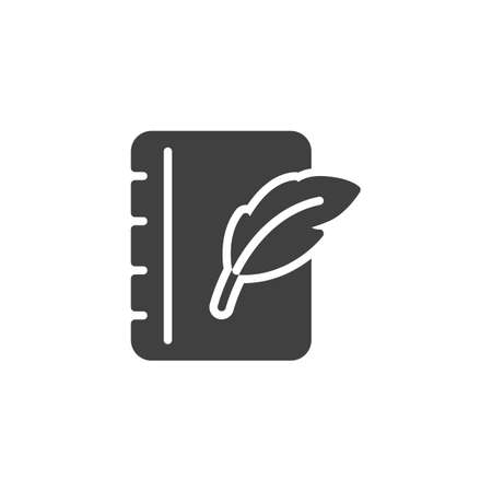 Feather pen and notebook page vector icon. filled flat sign for mobile concept and web design. Notepad paper with quill pen glyph icon. Writing form symbol,  illustration. Vector graphics Ilustração