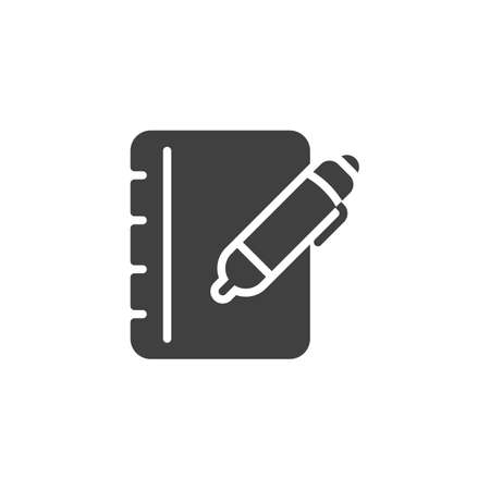 Pen and notebook page vector icon. filled flat sign for mobile concept and web design. Notepad paper with pencil glyph icon. Writing form symbol,  illustration. Vector graphics