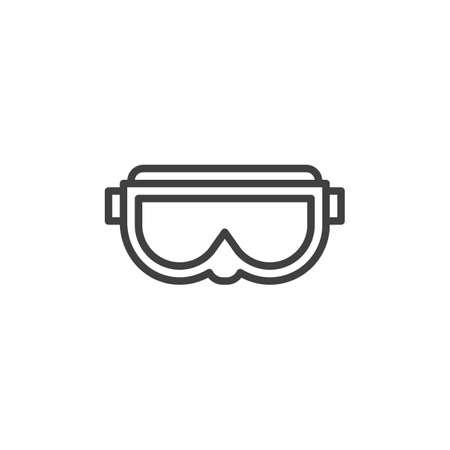 Symbol für die Skimaske. Lineares Zeichen für mobiles Konzept und Webdesign. Skibrille skizzieren Vektor-Symbol. Symbol, Abbildung. Vektorgrafiken