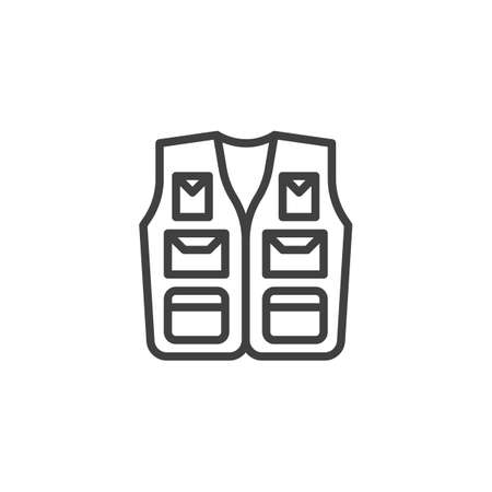 Fishing vest line icon. Sleeveless jacket linear style sign for mobile concept and web design. Hiking vest with pockets outline vector icon. Symbol,  illustration. Vector graphics