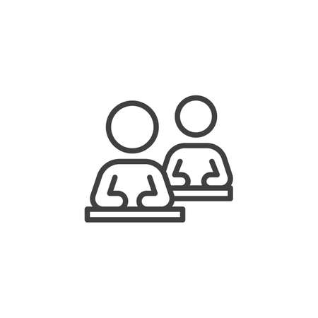 Two person at sitting desk line icon. linear style sign for mobile concept and web design. Business training outline vector icon. Symbol,  illustration. Vector graphics Çizim