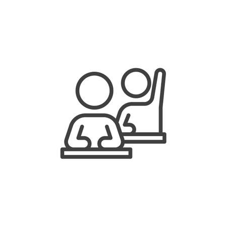 Corporate Training line icon. linear style sign for mobile concept and web design. Employee sitting at table with rising hand outline vector icon. Symbol,  illustration. Vector graphics
