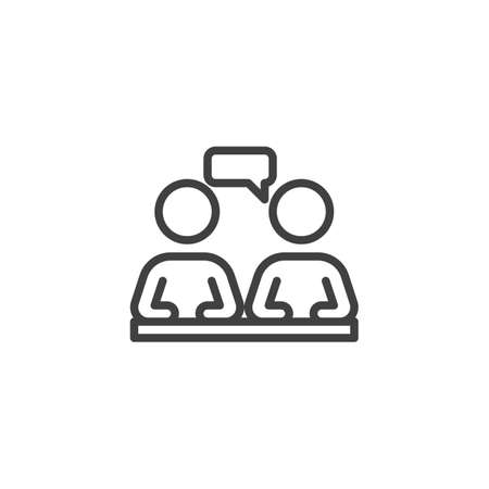 Business conversation line icon. linear style sign for mobile concept and web design. Two people speaking at the table outline vector icon. Symbol,  illustration. Vector graphics