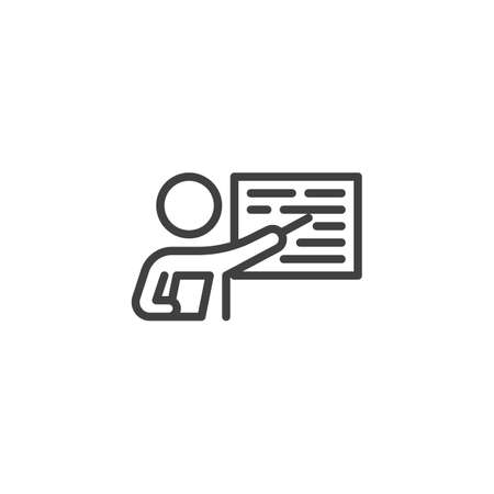 Business Presentation line icon. linear style sign for mobile concept and web design. Teacher, instructor teaching outline vector icon. Symbol,  illustration. Vector graphics